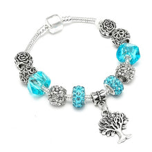 Load image into Gallery viewer, Silver Plated Blue Cystal Beads Charm Bracelet