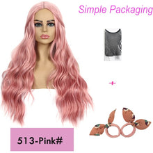 Load image into Gallery viewer, Long 26inches synthetic wig Blonde Brown Black Pink choose 7 colors