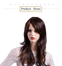 Load image into Gallery viewer, Long Straight Hair Synthetic Wigs Brown with Yellow Highlights Ombre Wig