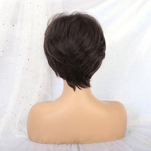 "Load image into Gallery viewer, Short Straight Synthetic Hair Wig 10""with Natural Bangs Pixie Cut with Highlights"