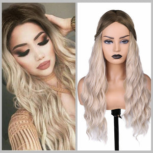 Black Ash Light Brown Blonde Synthetic Wigs