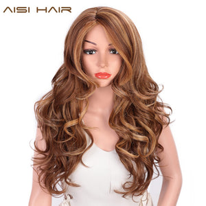 Long Wavy Natural Hair Wig Mixed Dark Brown Synthetic Wigs