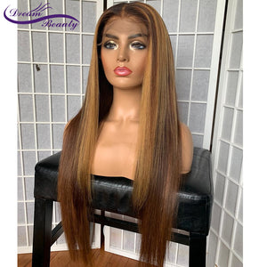 13x6 Blonde Lace Front Brazilian Straight Remy Human Hair Wigs