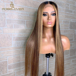 13*6 Remy Ombre Human Hair Highlight Lace Front Wigs
