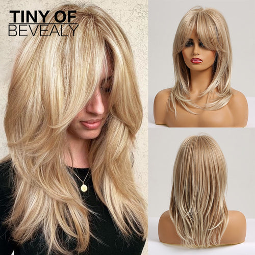 Long Ash Blonde Layered With Bangs Natural Wavy Synthetic Wigs