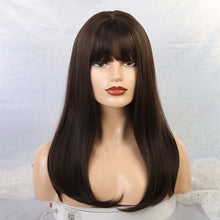 Load image into Gallery viewer, Long Ash Blonde Layered With Bangs Natural Wavy Synthetic Wigs
