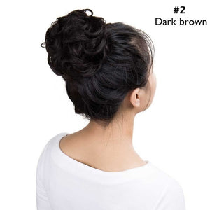 Curly Updo Cover Donut Chignon Synthetic Hair Drawstring Ponytail