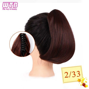 Short Straight Claw Drawstring Ponytail Natural Synthetic Hair Claw