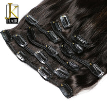 Load image into Gallery viewer, Brazilian Remy Straight Hair Clip In Human Hair Extensions Natural Color 8 Pieces/Set Full Head Sets