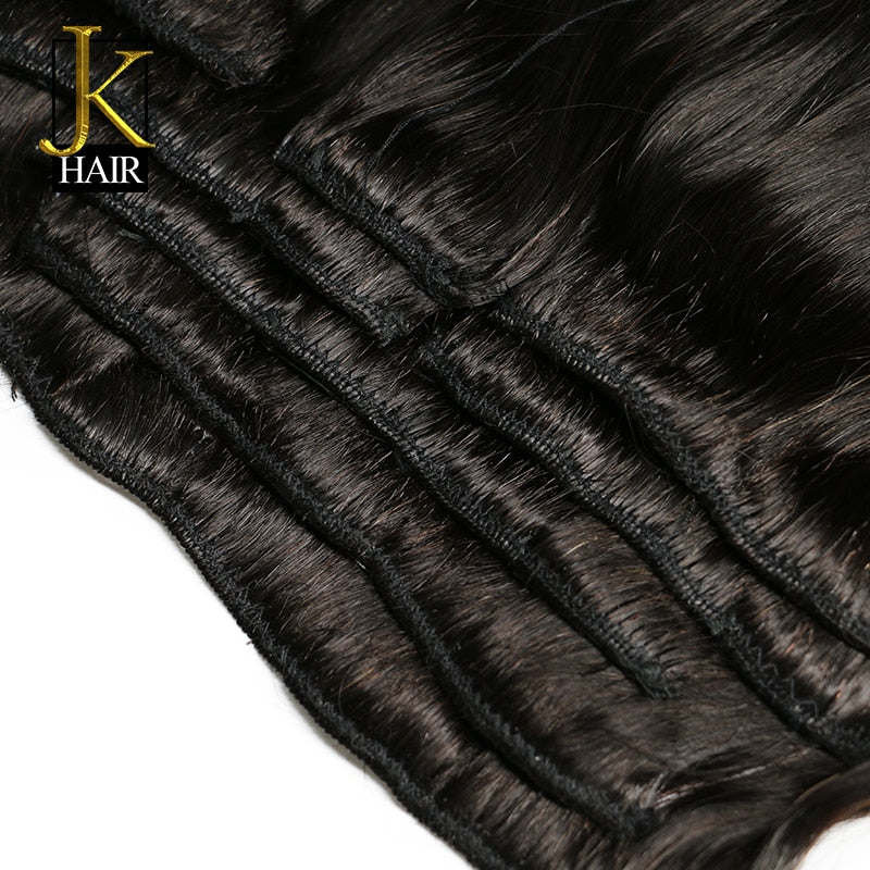 Brazilian Remy Straight Hair Clip In Human Hair Extensions Natural Color 8 Pieces/Set Full Head Sets