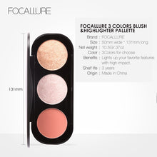 Load image into Gallery viewer, FOCALLURE 3 Colors Blush&Highlighter
