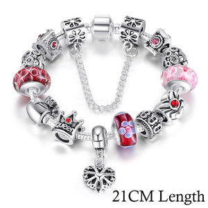 Silver Charms Bracelet & Bangles With Queen Crown Beads