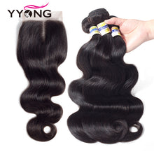 Load image into Gallery viewer, 3 Bundles Brazilian Human Hair Closure 4*4