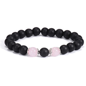 Pink Flower Crystal Beaded Bracelets