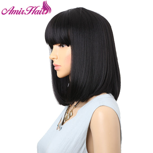Straight Black Synthetic Wigs With Bangs