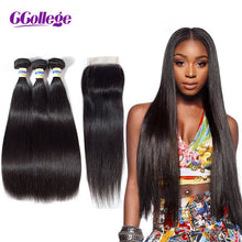 Load image into Gallery viewer, Human Hair 3 Bundles With Closure Brazilian Hair