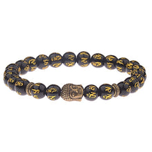 Load image into Gallery viewer, Buddha&Evil Eye Bracelet Elastic Round Bright Black Stone