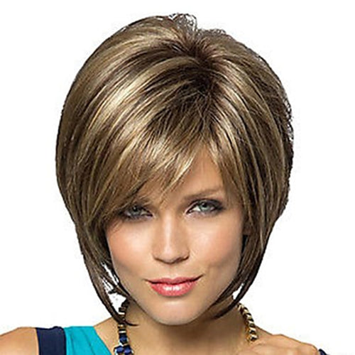 Synthetic Hair Bob Haircut Pixie Style with Bangs  Blonde Brown Double Color Short  Wig