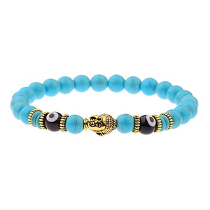 Buddha&Evil Eye Bracelet Elastic Round Bright Black Stone