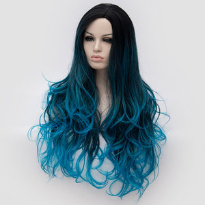 26inch Fiber Hair Dark Root Ombre Blue Highlight Body Wave Synthetic Wig