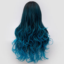 Load image into Gallery viewer, 26inch Fiber Hair Dark Root Ombre Blue Highlight Body Wave Synthetic Wig