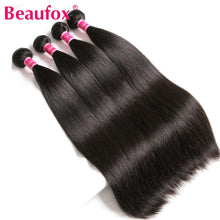 Load image into Gallery viewer, Human Hair Bundles With Closure Brazilian Straight Hair Bundles With Closure Remy Human Hair 3 Bundles With Closure