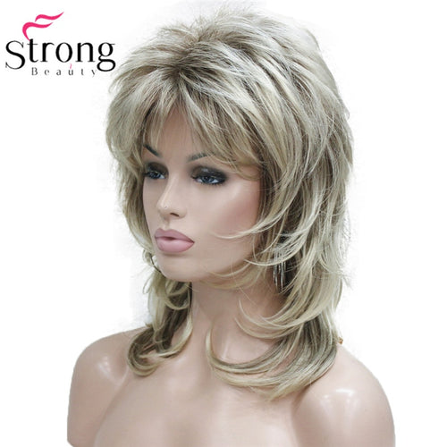 Blonde With Dark Root Medium Length Cascaded Layers Synthetic Hair FWig
