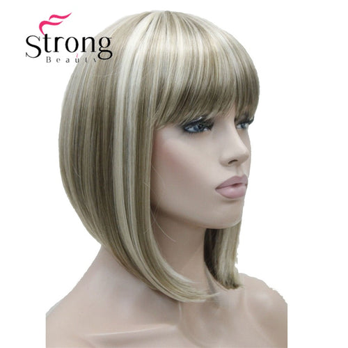 Short Straight Blonde Highlighted Bob with Bangs Synthetic Wig