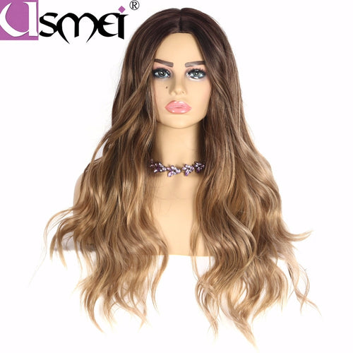 Long 26inches synthetic wig Blonde Brown Black Pink choose 7 colors