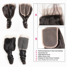 Load image into Gallery viewer, Brazilian Hair Weave Bundles With Closure Middle Part Brazilian Loose Wave 3 Bundles With Closure Non Remy Human Hair