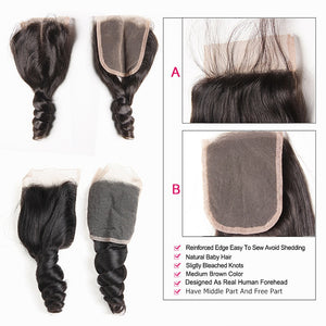 Brazilian Hair Weave Bundles With Closure Middle Part Brazilian Loose Wave 3 Bundles With Closure Non Remy Human Hair