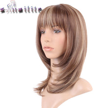 Load image into Gallery viewer, Straight Light brown mix Synthetic Wig