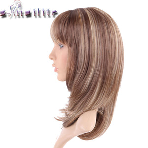 Straight Light brown mix Synthetic Wig