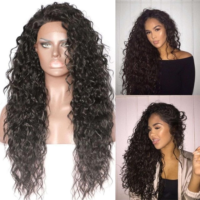 Black Highlight Gold Synthetic Lace Front Party Wig