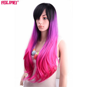 Synthetic Pink Red Gray Purple 26 Inch Long Wavy Wigs