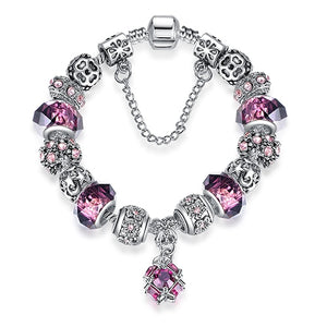 Silver Color Purple Murano Glass Crystal Bead Charm Bracelet
