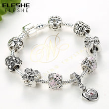 Load image into Gallery viewer, Silver Charm Bracelets Daisy Flower Butterfly Heart Crystal Beads Bracelet