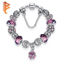 Load image into Gallery viewer, Silver Color Purple Murano Glass Crystal Bead Charm Bracelet