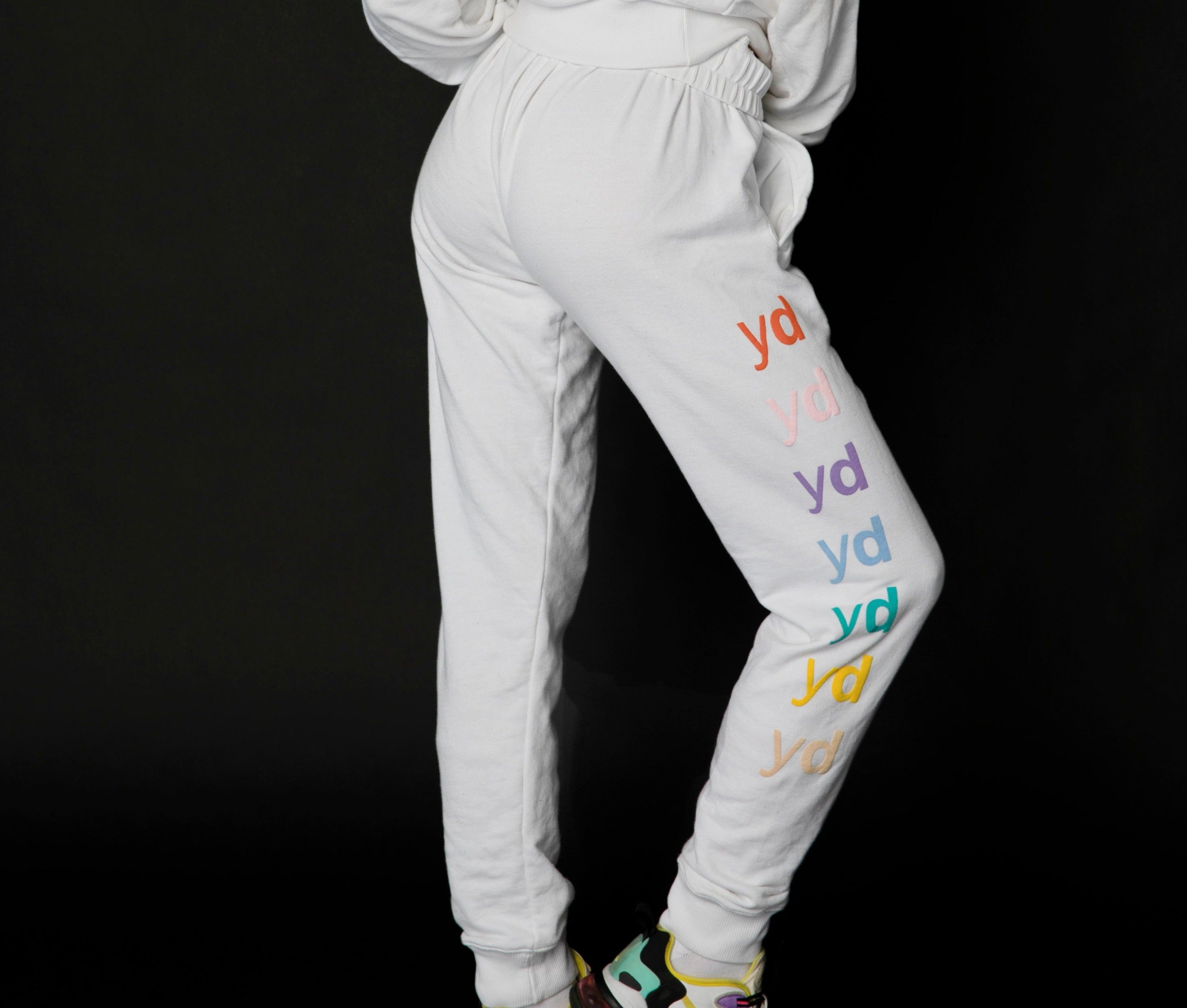 "White & Rainbow ""Dreams are for sleepers"" Sweatpants"