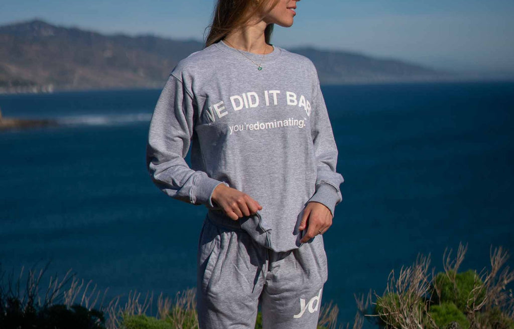"Grey ""We Did It Baby"" Sweater"