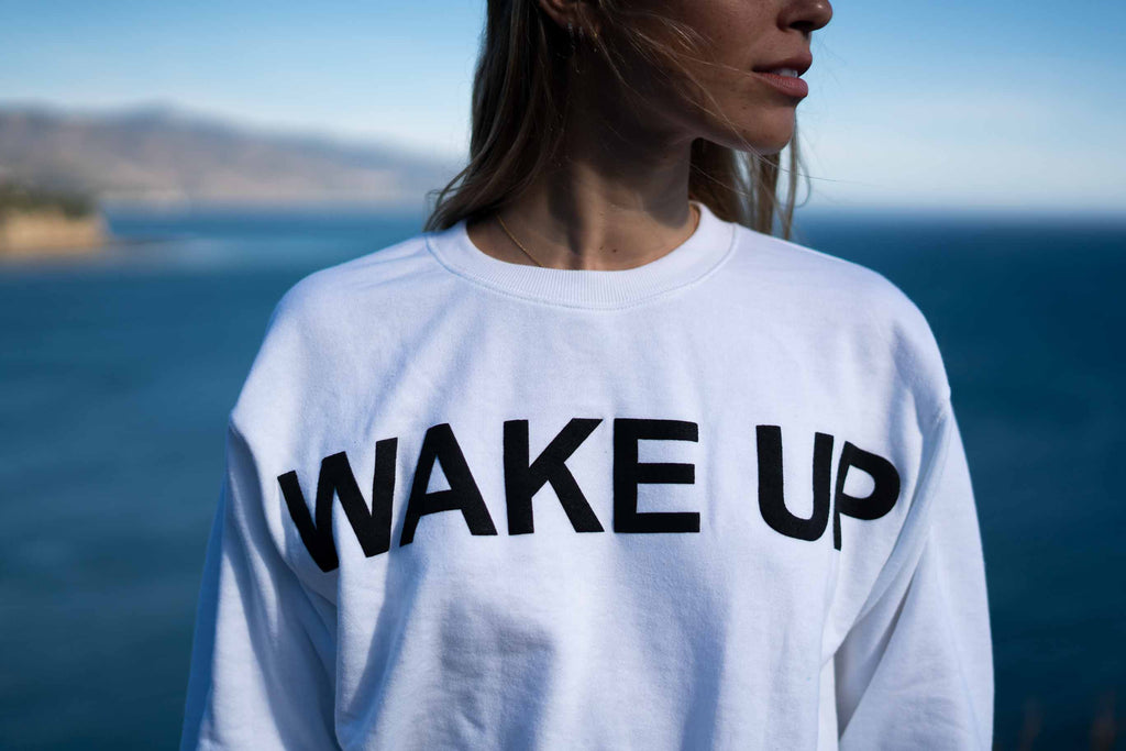 "White ""Wake Up"" Sweater"