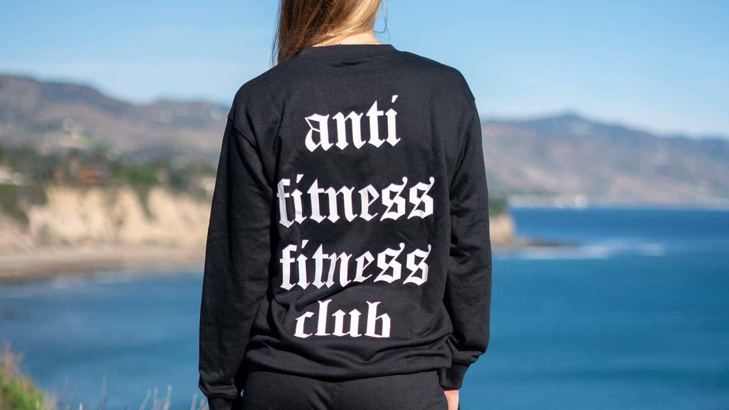 "Black ""Anti Fitness Fitness Club"" Sweater"
