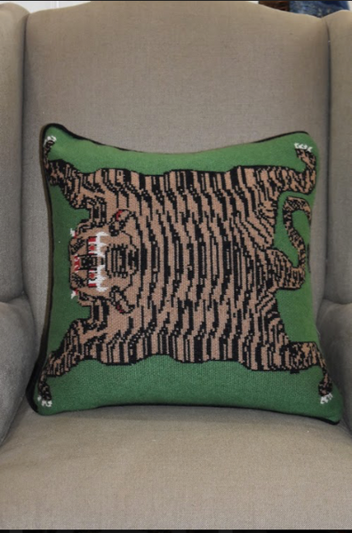 Flayed Tiger Cashmere Pillow-Green