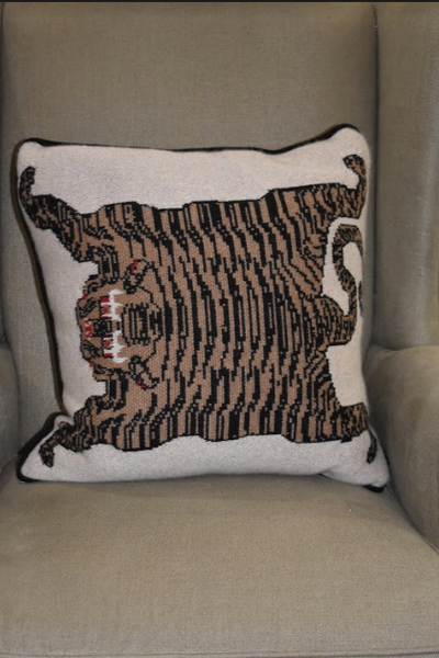 Flayed Tiger Cashmere Pillow- White
