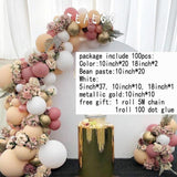 100pcs Bean paste Macaron White Party Decoration Balloons Garland Arch Kit - Richard Castaneda