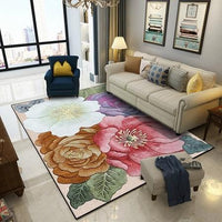 Colorful 3D Flowers Printed Living Room Large Area Rugs - Richard Castaneda