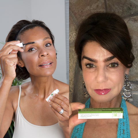 Applying Nulastin® BROW Shape Altering Serum with Real Results