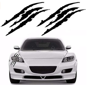 2PCS Claw Marks Decal Reflective Sticker for Car Headlamp (Black)