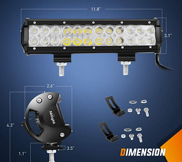 "12"" (72 watts) 4"" (18 watts) Combo LED Light Bar"