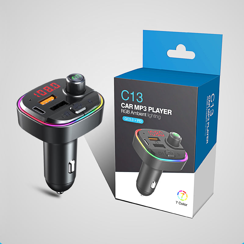 Bluetooth Car MP3 player w/ FM Transmitter & Breathing Color Light